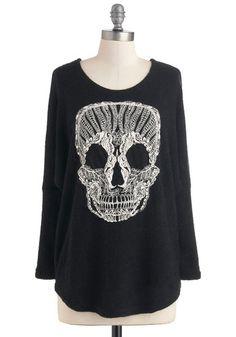 Get a Head Sweater - Black, White, Casual, Long Sleeve, Urban, Halloween, Black, Long Sleeve, Knit, Long