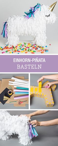 Perfektes Party-Accessoire: Bunte Einhorn Pinata selbermachen / party diy: how to craft a unicorn pinata via DaWanda.com (Diy Ideas For Kids)