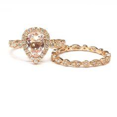 $1,188 Pear Morganite Engagement Ring Sets Pave Moissanite Diamond Wedding 14K Rose Gold 6x8mm