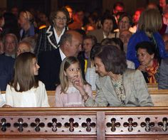 King Felipa, Queen Letizia and Queen Sofia of Spain attend Easter Mass with daughters Infanta Leonor, Princess of Asturias and Infanta Sofia 4/5/2014