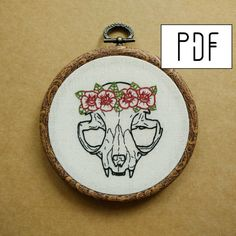 PDF pattern -  Cat Skull Flower Crown Hand Embroidery Pattern (PDF pattern -  modern embroidery pattern - tattoo patch - flower patch)