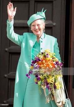 Queen Margrethe II of Denmark leaves the Town Hall after lunch during... News Photo   Getty Images