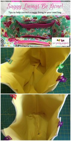 A look at what causes saggy bag linings, where they seem far too large. Tips on how to avoid and correct it so you get a nice smooth lining to your bag.