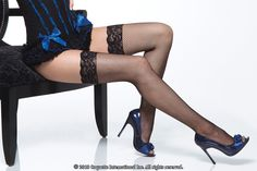 Seamed Stockings Garters | Fishnet Stockings with Lace Top