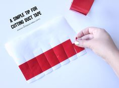 Put strips of duct tape on a piece of parchment paper. Then cut out the pieces or shapes you want. The duct tape pieces will peel right off like little stickers. It is SO much easier to cut & keeps the stickiness off your scissors.