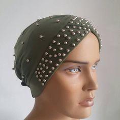 green headcovering - headband - chemo hat - head scarf - cream tichel - hijab scarf - muslim scarves - pearl headcovering - turban - tichel