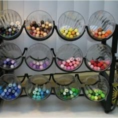 Craft or kitchen storage ~ glasses or cut bottles in a wine rack