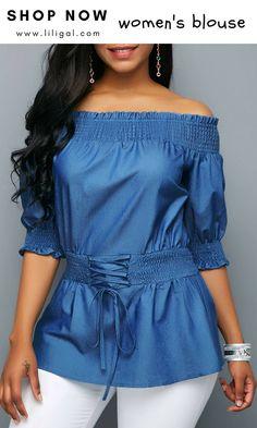 94196d3ea00 Lace Up Half Sleeve Denim Blouse  liligal  blouse  tshirt Denim Blouse