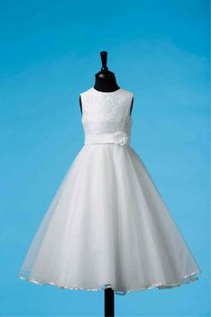 Retro Communion Dress - White Satin and Vintage French Lace First Communion dress with Full Circle Tulle Skirt 80G03018- Koko Collection - New 2015