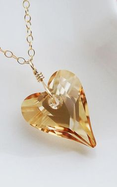 Gold Swarovski Crystal Heart Necklace :: love!