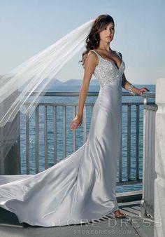 Flamboyant Sheath Straps Chapel Train Silver Beach Wedding Dress at Storedress.com