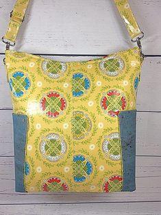 Yellow Medallion Tote Bag Purse Handbag Laminated Cotton | Etsy Laminated Cotton Fabric, Cork Fabric, Yellow Background, Green Print, Fabric Samples, Hang Tags, Purses And Handbags, Tote Bag, Projects