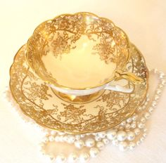 Vintage Gold Tea Cup Set  Royal Stafford English China Teacup with Lavish Gold Gilt | Made in England Mid Century | Gift for Her  by HouseofLucien