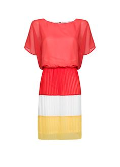 Pleated color block dress from Mango