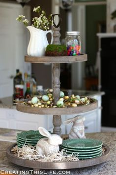 Three tiered wooden tray decked out for Spring. Cake Stand Decor, Tray Decor, Galvanized Tiered Tray, 3 Tiered Wooden Stand, Seasonal Decor, Holiday Decor, Home Decoracion, Easter Crafts, Easter Decor