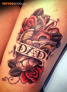 Tattoodo: heart tattoos. Tribute to a loved one, by Siobhan Creedon.