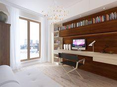 Projekt wnętrza mieszkania z drewnem w gabinecie - eklektyzm – Tissu. W gabinecie architekt zaprojektował funkcjonalną ścianę z drewna. Wnętrze jest nowoczesne, ale kolonialny mebel oraz klasyczna lecz w nowoczesnym wydaniu lampa, połączone z reżyserskim fotelem i stylizowanymi gzymsami przy suficie dają mix różnych stylów.  http://www.tissu.com.pl/zdjecia/269