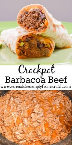 Crockpot Barbacoa Beef takes less then 10 minutes to assemble and is the perfect filling for burritos, tacos, enchiladas or nachos! www.serenabakessimplyfromscratch.com