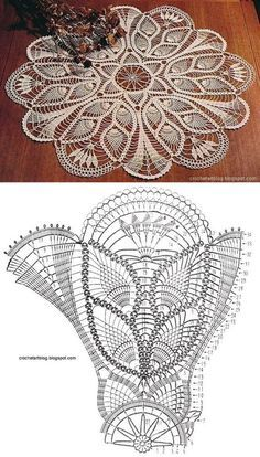 Pineapple Crochet Lace And Tulips From C - Diy Crafts Crochet Tablecloth Pattern, Free Crochet Doily Patterns, Crochet Doily Diagram, Crochet Circles, Crochet Motifs, Crochet Art, Thread Crochet, Filet Crochet, Vintage Crochet