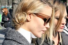 """The messy side bun (shown here on buddies Sasha and Natasha) that hairstylist Sam McNight created for Chanel's Fall/Winter 2011 show screamed """"Try me! Heat Free Hairstyles, Messy Hairstyles, Hairstyle Ideas, Hair Ideas, Natasha Poly, Twist And Shout, Fluffy Hair, Shades Of Blonde, Bohemian Bride"""