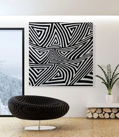 Extra Large Black and White Oil painting On von HeartArtGallery