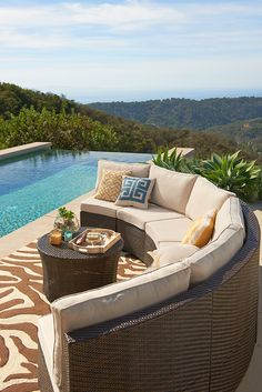 Go configure. The Ciudad Crescent Chair from Pier 1 adapts to almost any patio space. Not only is the architectural silhouette sophisticated, but it's built tough, thanks to all-weather synthetic rattan woven over a heavy-duty, rust-resistant metal frame. Add cushion, kick back and relax.