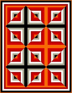 Optical Illusion Quilts, Art Optical, Barn Quilt Designs, Quilting Designs, Crochet Heart Blanket, Log Cabin Quilt Pattern, Quilt Square Patterns, Contemporary Quilts, Barn Quilts