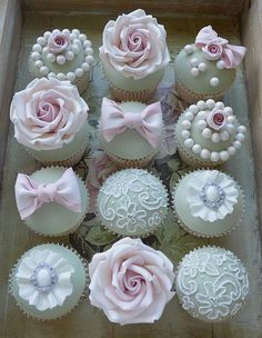 Pretty vintage cupcakes x by Katie's cake box, via Flickr