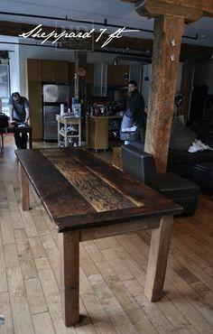 Reclaimed Wood Harvest Table with epoxy/polyurethane finish -  Ontario Threshing Floor Board Top - Showroom in Cambridge,ON - by HD Threshing Floor Furniture www.hdthreshing.com