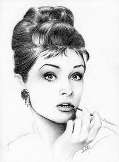 Audrey Hepburn black and white art for sale at Toperfect gallery. Buy the Audrey Hepburn black and white oil painting in Factory Price. All Paintings are Satisfaction Guaranteed Desenho Audrey Hepburn, Audrey Hepburn Kunst, Audrey Hepburn Drawing, Aubrey Hepburn, Portrait Au Crayon, Pencil Portrait, Amazing Drawings, Amazing Art, Awesome