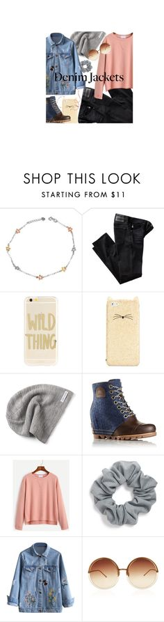 """""""Denim Jackets"""" by venus-14 ❤ liked on Polyvore featuring MaBelle, AG Adriano Goldschmied, Sonix, Kate Spade, Converse, SOREL, Natasha Couture and Linda Farrow"""