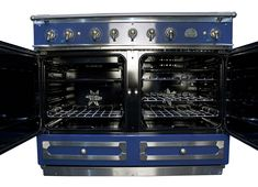 Abt has special shipping on the La Cornue CornuFe 110 Dual Fuel Range - Buy from an authorized internet retailer and get free tech support for life. La Cornue, Dark Navy Blue, Polished Brass, Kitchen Inspiration, Kitchen Ideas, Stainless Steel, Range, Home, Cookers