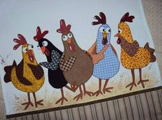 chicken quilt HD: Can you hear The Chicken Dance? Sewing Appliques, Applique Patterns, Applique Quilts, Quilt Patterns, Mini Quilts, Small Quilts, Chicken Crafts, Chicken Art, Crazy Quilting