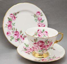 Vintage Hammersley China Trio Pink Floral English High Tea Shabby 50s 5962