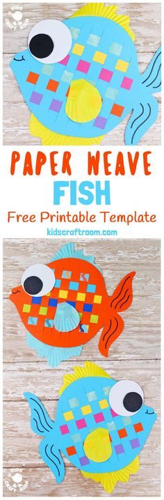 Here's a Paper Weaving Fish Craft that's perfect for Summer. These colourful fish are super fun to make and a great way to introduce kids to some simple weaving. To help keep things easy we've got a free printable template for you too. (It also doubles up Paper Crafts For Kids, Crafts For Kids To Make, New Crafts, Projects For Kids, Craft Projects, Craft Kids, Summer Crafts For Kids, Summer Ideas, Craft Tutorials