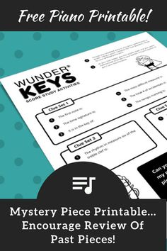 """A """"Mystery Piece"""" Printable; Have Fun Revisiting Completed Piano Repertoire"""