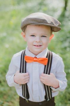 Love this for Sawyer!  Picture Yellow bow tie, grey suspenders and hat... Vintage ring bearer @Sharlene Evans Neisteter ??
