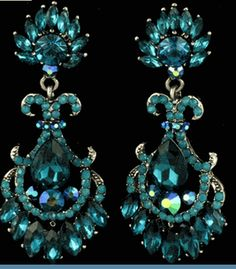 Vintage Style Teal Blue & Iridescent Chandelier Earrings ( 3.25 in ) $20 @ www.whimzaccessories.com  CHE1127$20.00