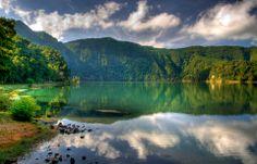 "Lagoa verde. ""Green lagoon"" Azores."