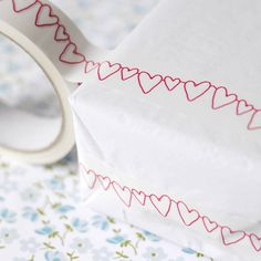 Red Heart Bunting Decorative Sticky Tape