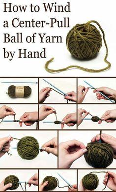 Center pull ball of yarn