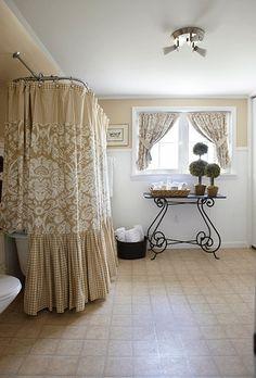 Neutral Bathroom, love the lush shower curtain...