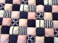 PINK & NAVY NAUTICAL Bubble Quilt Puff Quilt for Baby Floor Bubble Quilt, Puff Quilt, Baby Quilts, Nautical, Bubbles, Quilting, Flooring, Throw Pillows, Navy