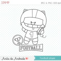 OFF Football Cat Player stamp - commercial use - digital stamp, line art, digital clip art, graphics, digital images - Colorful Drawings, Cute Drawings, Baby Posters, Doodles, Cute Bears, Digi Stamps, Cute Images, Drawing For Kids, Watercolor Illustration