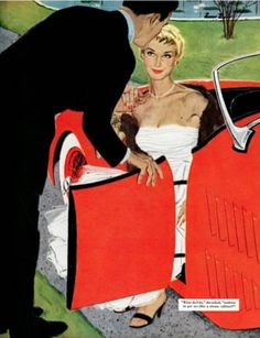 """Mac Conner (born 1913, American), March 26, 1955, No Love Allowed, Saturday Evening Post """" Leading Ladies"""", page 26."""