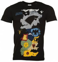 Men's Black Game Of Thrones Map Sigils T-Shirt