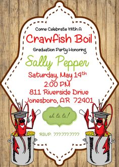 Printable DIY Crawfish Boil Invitation Graduation Party Generic Invitation | Wood Background by PerfectedbyGrace on Etsy