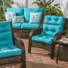 Outdoor Deep Seat Loveseat Cushion Set- Blue - Greendale Home Fashions Outdoor Deep Seat Cushions, Patio Cushions, Outdoor Chairs, Outdoor Furniture Sets, Outdoor Decor, Outdoor Fabric, Indoor Outdoor, Porch Furniture, Doll Furniture