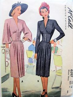 1940s GORGEOUS  Corset Waist Dress Pattern McCALL 6597 Stunning Design Day or Evening Bust 34 Vintage Sewing Pattern FACTORY FOLDED