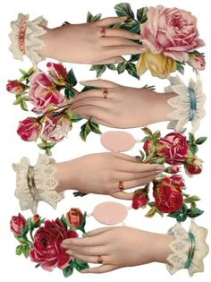 Free Printable Victorian Floral Hands - make a nice fan